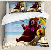 Animal Decor Queen Size Duvet Cover Set, Happy Fancy Wild Hot Sexy Bear with Bikini Top on the Beach Sunbathing Artwork, Decorative 3 Piece Bedding Set with 2 Pillow Shams, Multi, by Ambesonne