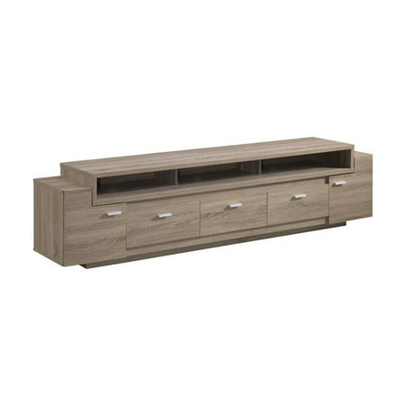 Furniture of America Santex Contemporary Wooden 84-inch TV Stand in Light Brown ()