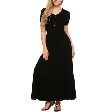 Vintage Women Short Sleeve Solid Bow Pullover Tunic Swing Maxi Dress RllYE