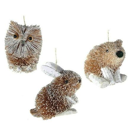 Buri Winter Animal Ornaments, Grey, 3-Inch, 3-Piece
