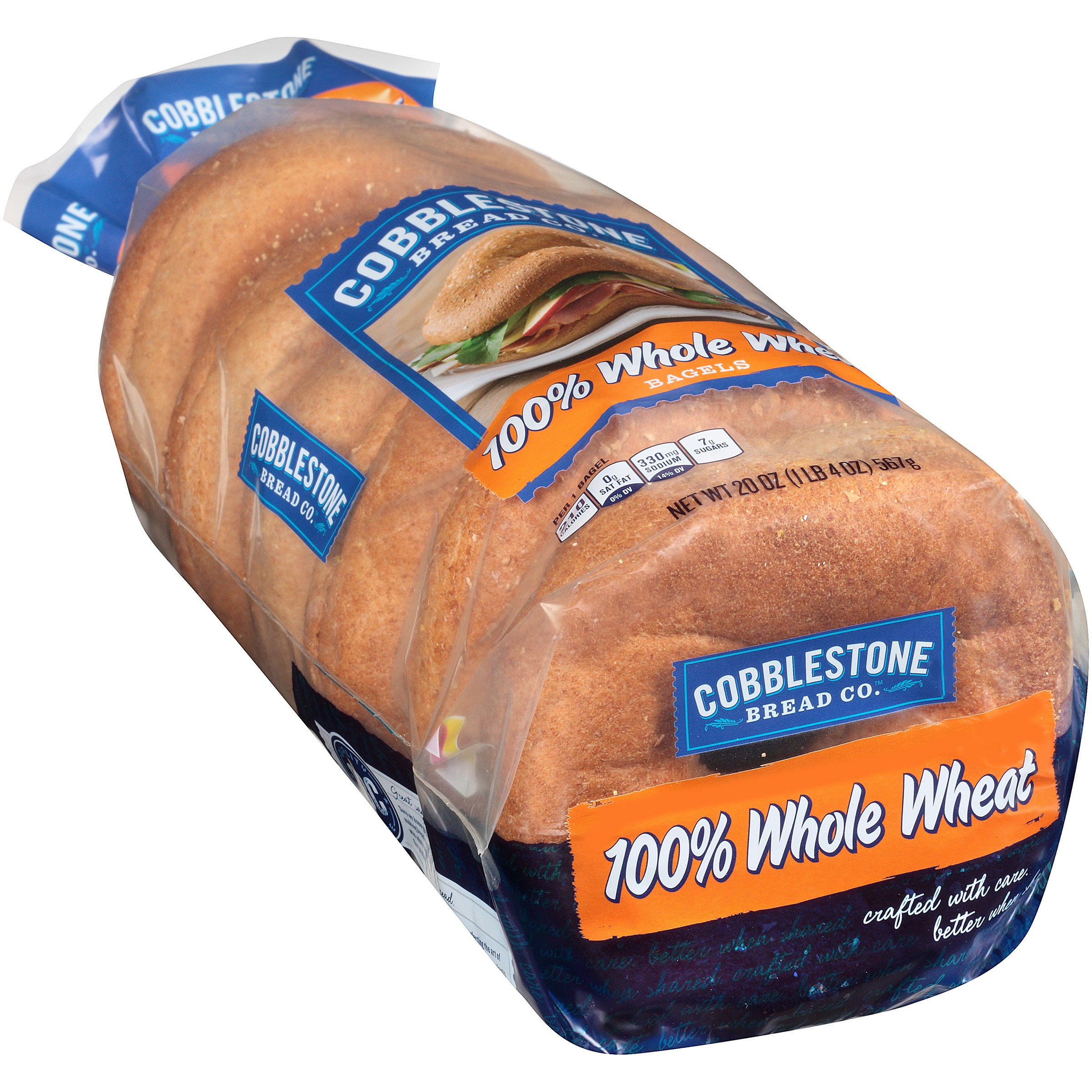 Cobblestone Bread Co. 100% Whole Wheat Bagels 20 oz. Bag by Flowers Foods