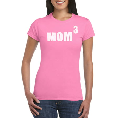 Mom To The Third Power T-Shirt Gift Idea for Women - Birthday Present For Mother, Funny Gag for New Mom, Baby Shower, Newborn - Gag Gifts For Women