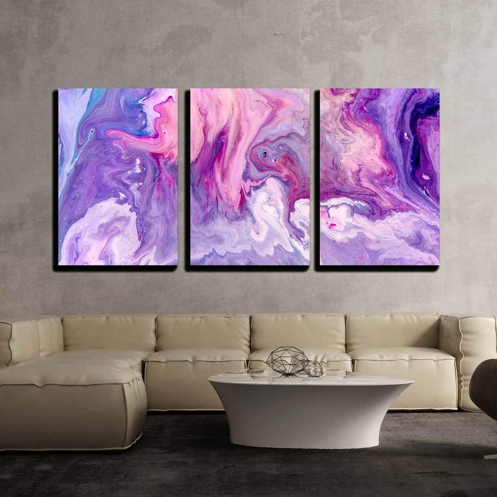wall26 - 3 Piece Canvas Wall Art - Abstract Purple Paint ...