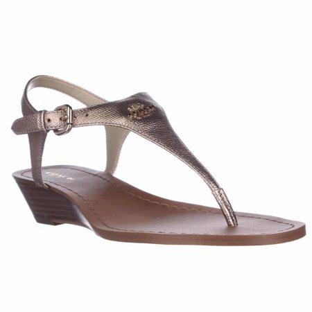 68a6810c3773 Coach - Womens Coach Vitalia T-Strap Wedge Thong Sandals - Rose Gold -  Walmart.com
