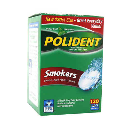 Polident Smokers Denture Cleaner, 120ct
