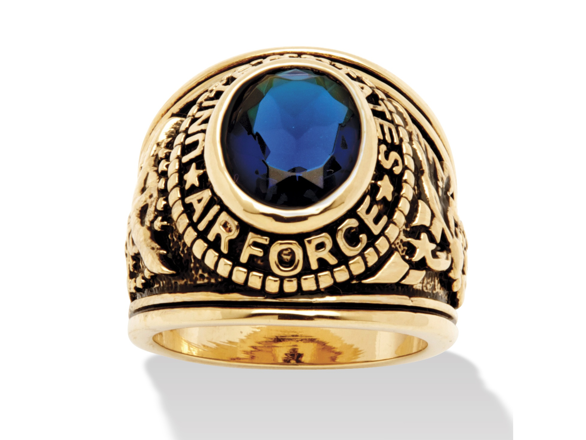 US Army ring with insignia,gold plated sapphire stone,size 13,USA made