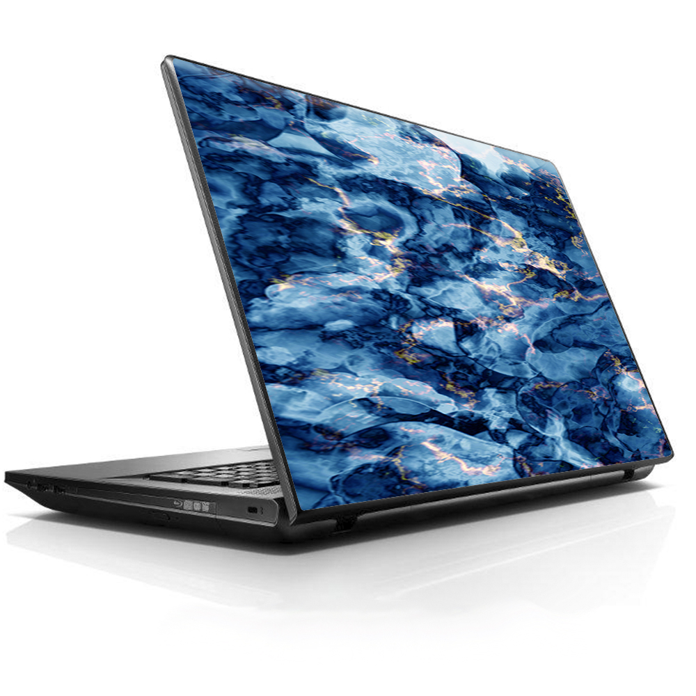 "Laptop Notebook Universal Skin Decal Fits 13.3"" to 15.6"" / Heavy Blue Gold Marble Granite"