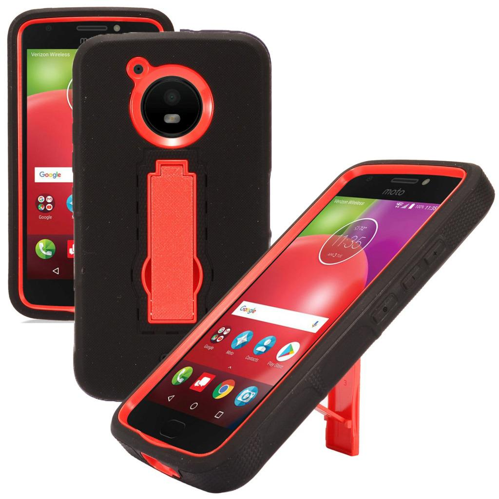 For Motorola Moto E4 Case / Moto E 4 XT1767 Case Symbiosis Armor Hybrid Silicone Phone Cover w/ Stand Combo Pack (Red/Black)