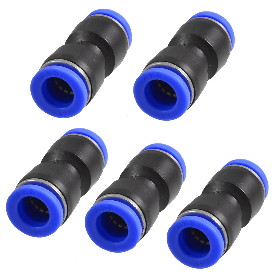5 x Air Pneumatic 12mm to 12mm Straight  in Connectors Quick Fittings Cykfz