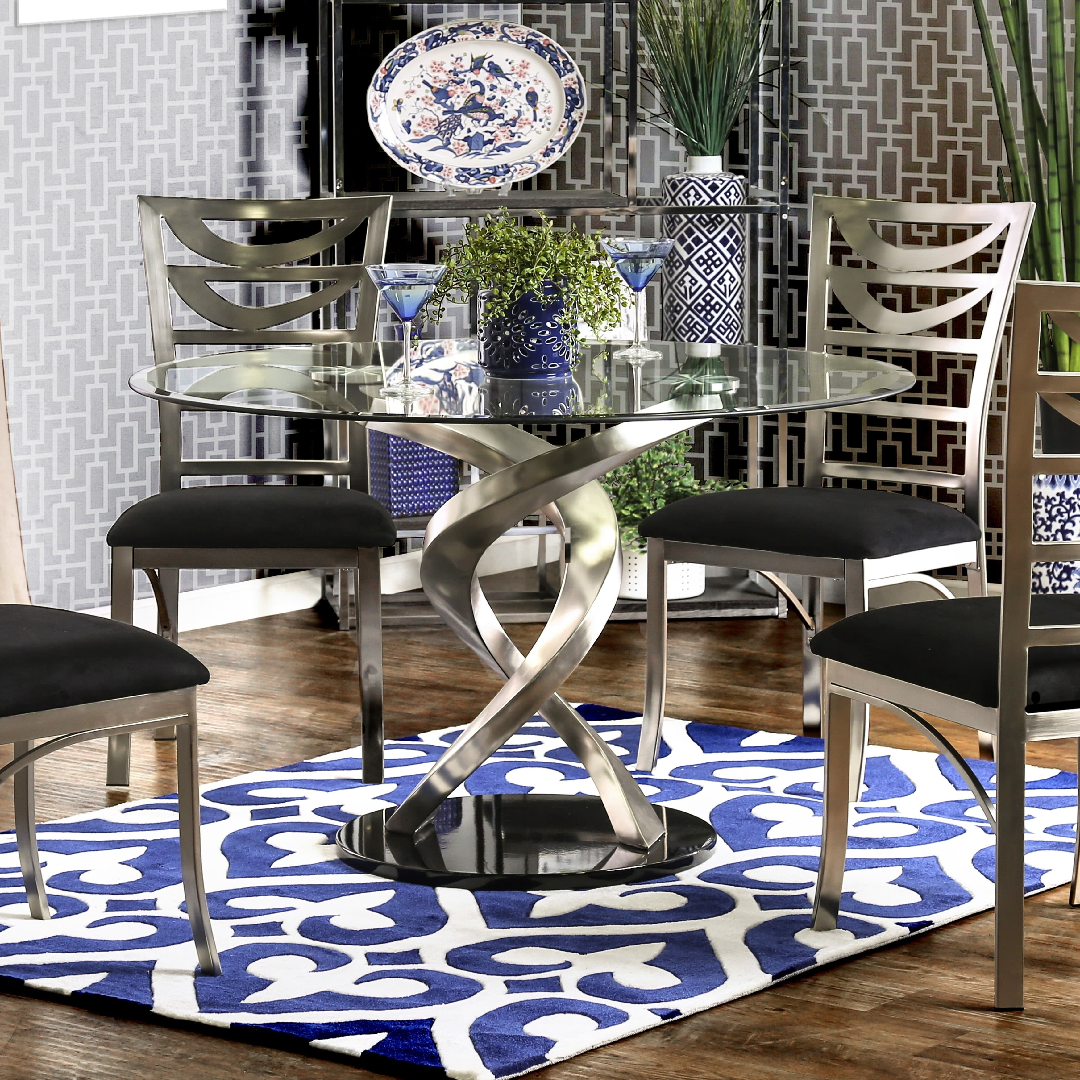 Furniture of America Sculpture I Contemporary Glass Top Round Dining Table by Overstock