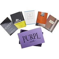 ( PACK 3) PURPL LUX SUBSCRIPTION BOX FOR MEN $BURBERRY LONDON - $EAU DE CARTIER VETIVER BLEU - $LACOSTE CHALLENGE - $DUNHILL PURSUIT - $BANANA REPUBLIC MODERN
