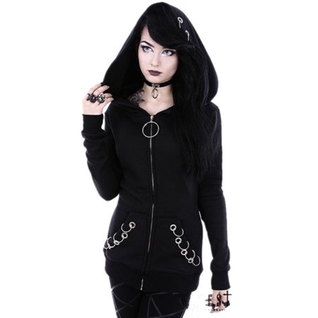 Rhinestone Skull Sweatshirt - Gothic Women Punk Black Skeleton Skull Hooded Sweat Hoodie Jacket Coats Cosplay