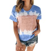 Women's Floral Short Sleeves Plus Size T Shirt Loose Tops Summer Casual Blouse
