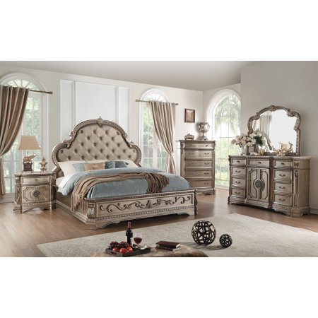 Antiqued Champagne Finish - ACME Northville Bed in Antique Silver Finish, Multiple Sizes