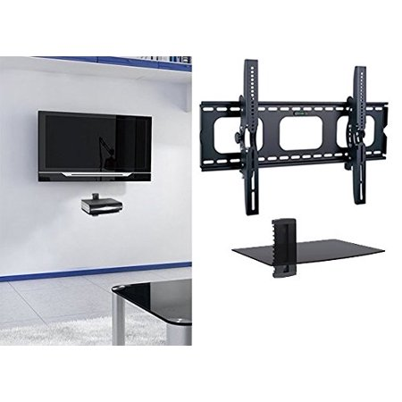 Marvelous 2Xhome Universal Flat Led Lcd Plasma Flat Tv Wall Mount Tilt For 35 40 45 50 60 65 70 75 80 85 With 1 Tier Single Glass Shelf Stand For Download Free Architecture Designs Scobabritishbridgeorg