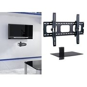 2xhome Universal Flat Led Lcd Plasma Tv Wall Mount Tilt For 35 40 45 50 60 65 70 75 80 85 With 1 Tier Single Gl Shelf Stand Dvr Dvd