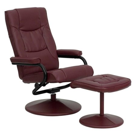 - Flash Furniture Contemporary Burgundy Leather Recliner and Ottoman with Leather Wrapped Base