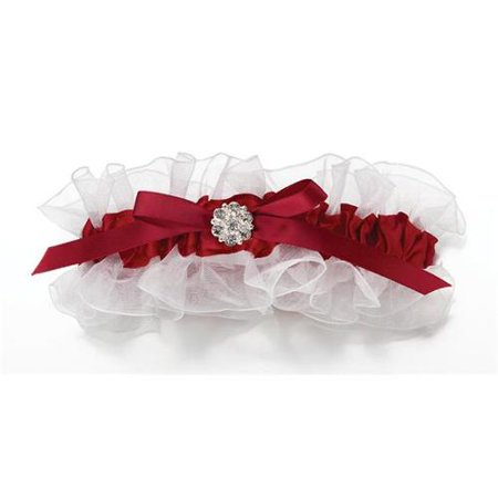 Red Satin Garter with Rhinestone