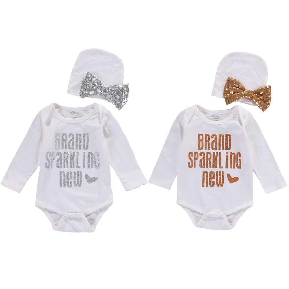 Infant Newborn Baby Girls Romper Bodysuit Jumpsuit Clothes Sunsuit Hat Outfits