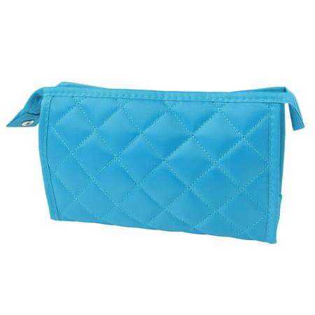 Unique Bargains Lady Sky Blue Rhombus Detail 3 Parts Perfume Brushes Pouch Cosmetic Makeup Bag