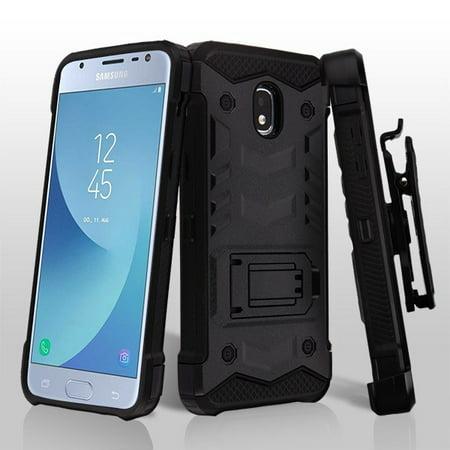 Samsung Galaxy J3 2018, Express Prime 3, J3 Achieve, J3 V, J3 Star Phone Case Hybrid Armor Rugged TPU Rubber Dual Layer Protective Cover Swivel Clip Holster BLACK Case for Samsung Galaxy J3 2018