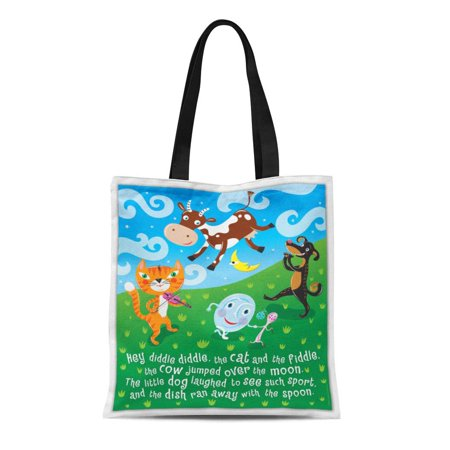 SIDONKU Canvas Tote Bag Nursery Hey Diddle Rhymes Cat Fiddle Kids Childrens Educational Reusable Handbag Shoulder Grocery Shopping Bags - Childrens Shopping Bag