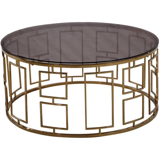 ARMEN LIVING Zinc Contemporary Coffee Table, Shiny Gold