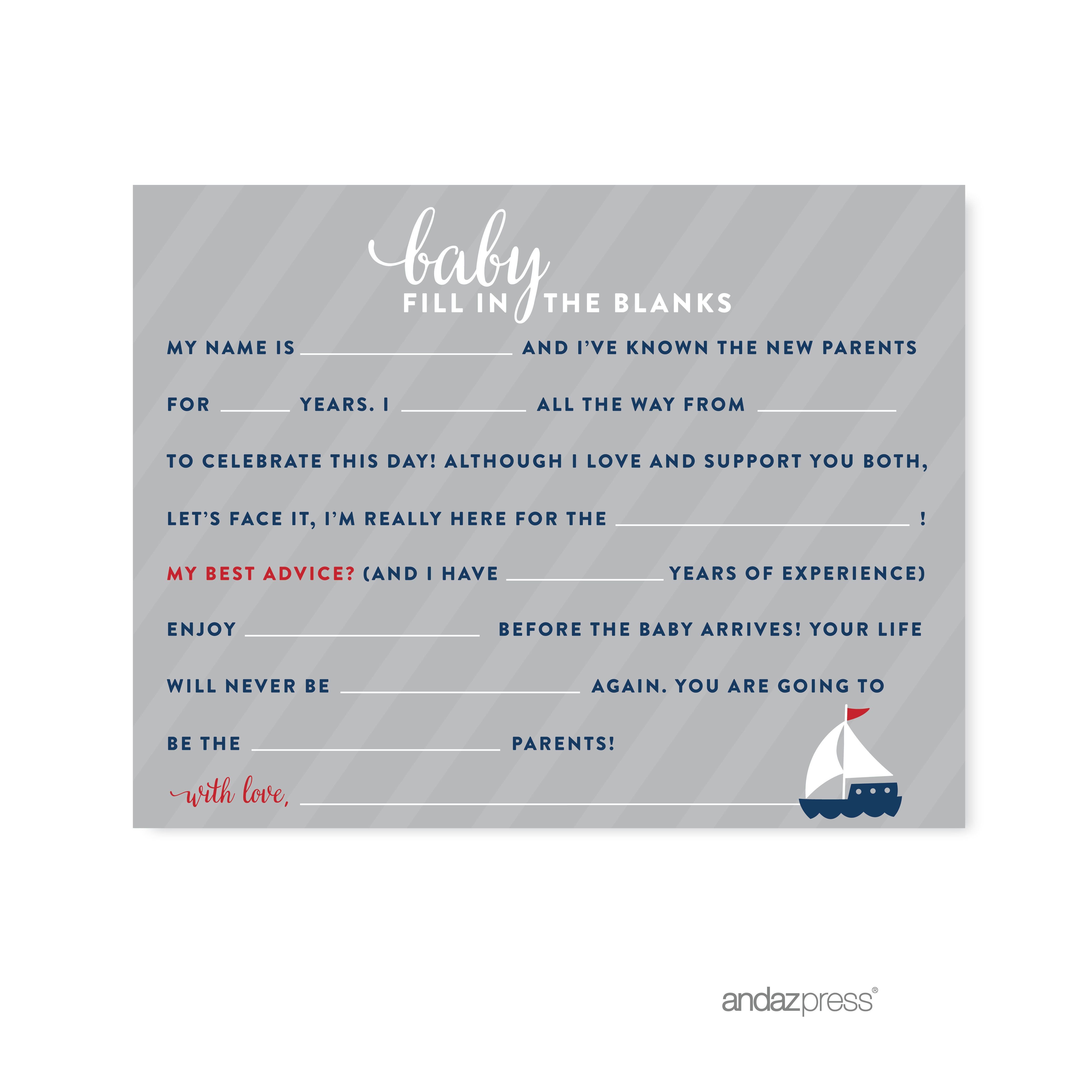 Fill-In-The-Blank Navy Blue Nautical Baby Shower Game, 20-Pack