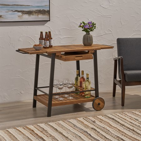 Michaela Indoor Acacia Wood Bar Cart with Reversible Drawers, Adjustable Tray Top and Wine Bottle Holders, Teak