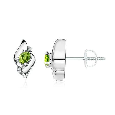 Oval Shell Earrings - August Birthstone Earrings - Oval Peridot and Diamond Shell Stud Earrings in 14K White Gold (4x3mm Peridot) - SE0121PD-WG-AAA-4x3
