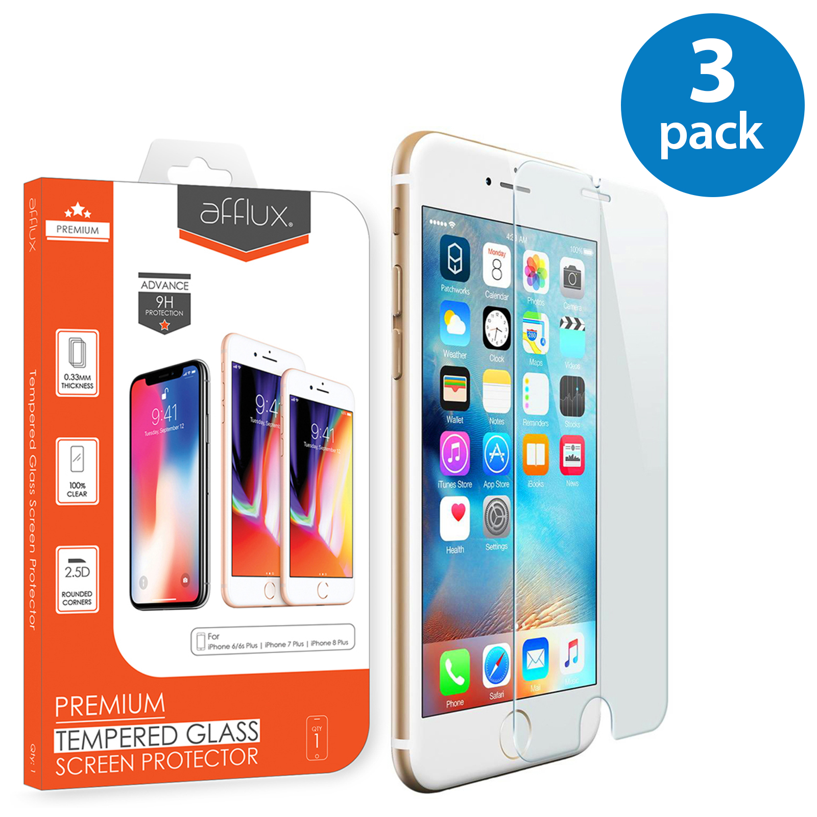 3x Afflux Apple iPhone 8 Plus Tempered Glass Screen Protector Film Guard Case Friendly For iPhone 8 Plus