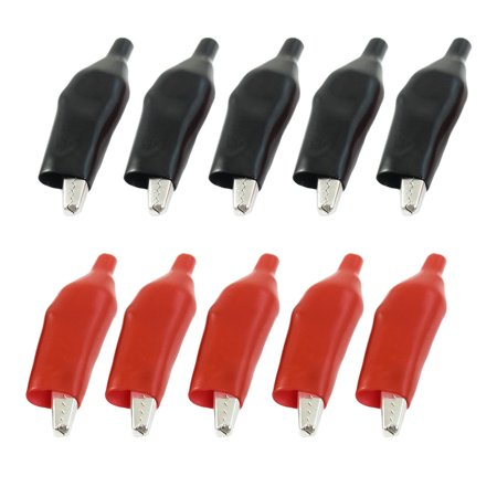Uxcell 10 Pcs Red Black Insulated Alligator Clips Test  Crocodile Clamps