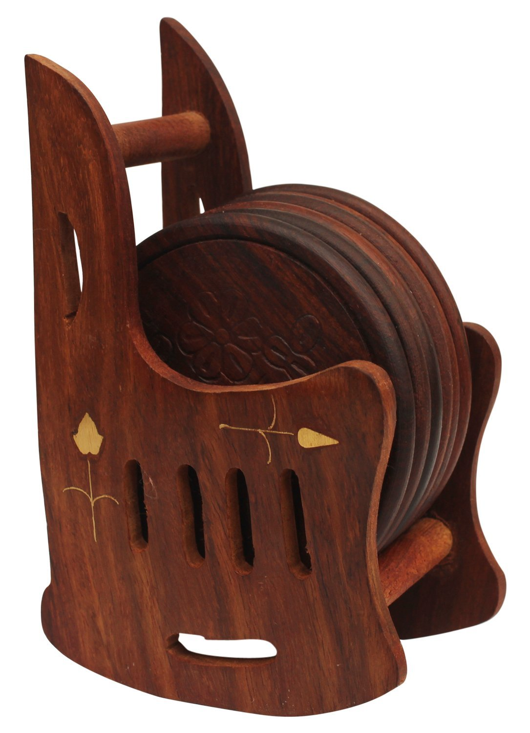 Handmade 5 Inches Wooden Set Of 6 Coasters With Rocking Chair Holder In Brown Color by SouvNear