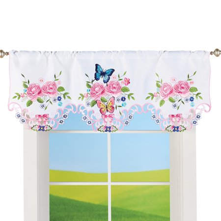 Rosa Valance (Pink Rose Garden and Butterfly Embroidered Cutout Window Valance - Seasonal Window Accent for Any Room in Home )