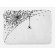Spider Web Bath Mat, Corner Cobweb with a Hanging Insect Hand Drawn Style Gothic Design with Flies, Non-Slip Plush Mat Bathroom Kitchen Laundry Room Decor, 29.5 X 17.5 Inches, Black White, Ambesonne