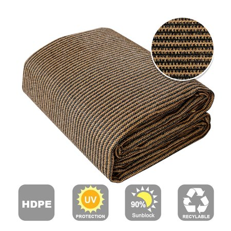 Shatex Outdoor Shade Cloth Block 90% Sun Shade for Pergola/Patio/Porch/Backyard/Garden/Greenhouse 6x12ft Coffee