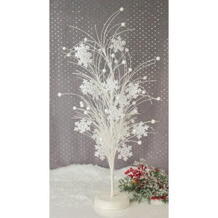 Melrose 2' Unlit Artificial Christmas Tree White Winter Frost Glittered Snowflake Design ()
