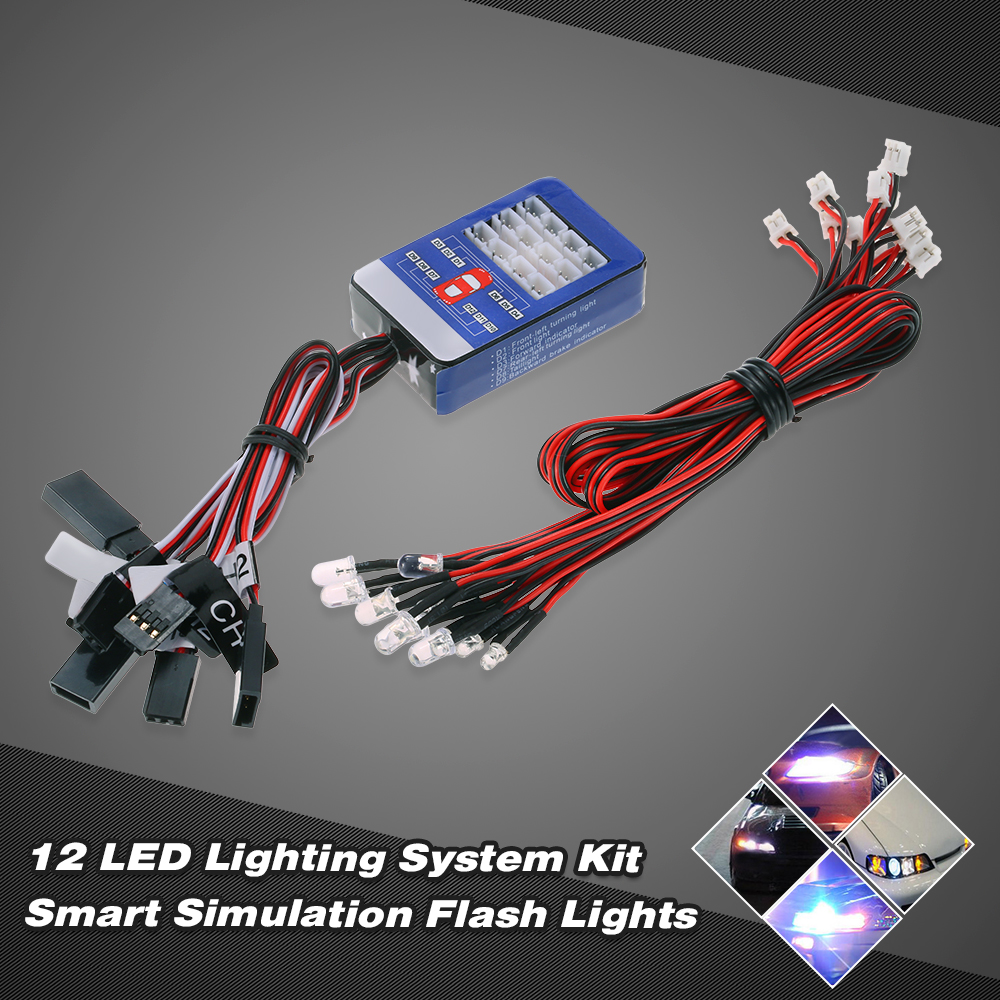 12 LED Lighting System Kit Steering Brake Smart Simulation Flash Lights for 1 10 Scale... by