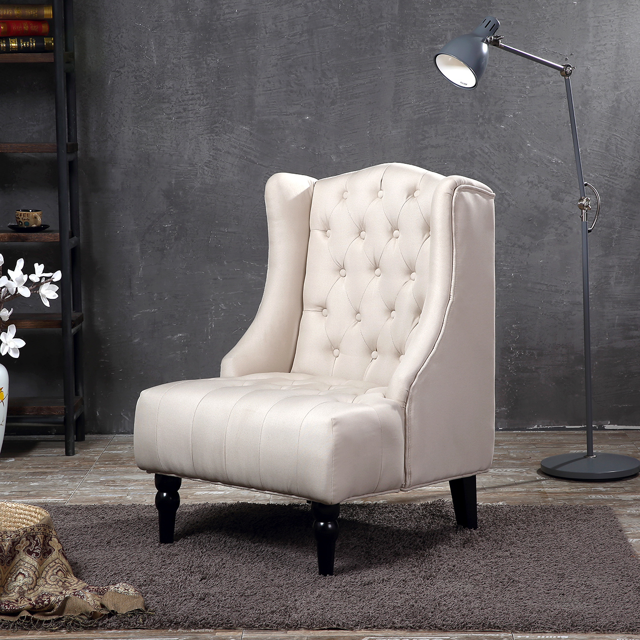 Belleze Tall Wingback Tufted Linen Accent Chair Tufted High Back with Nail Head, Beige