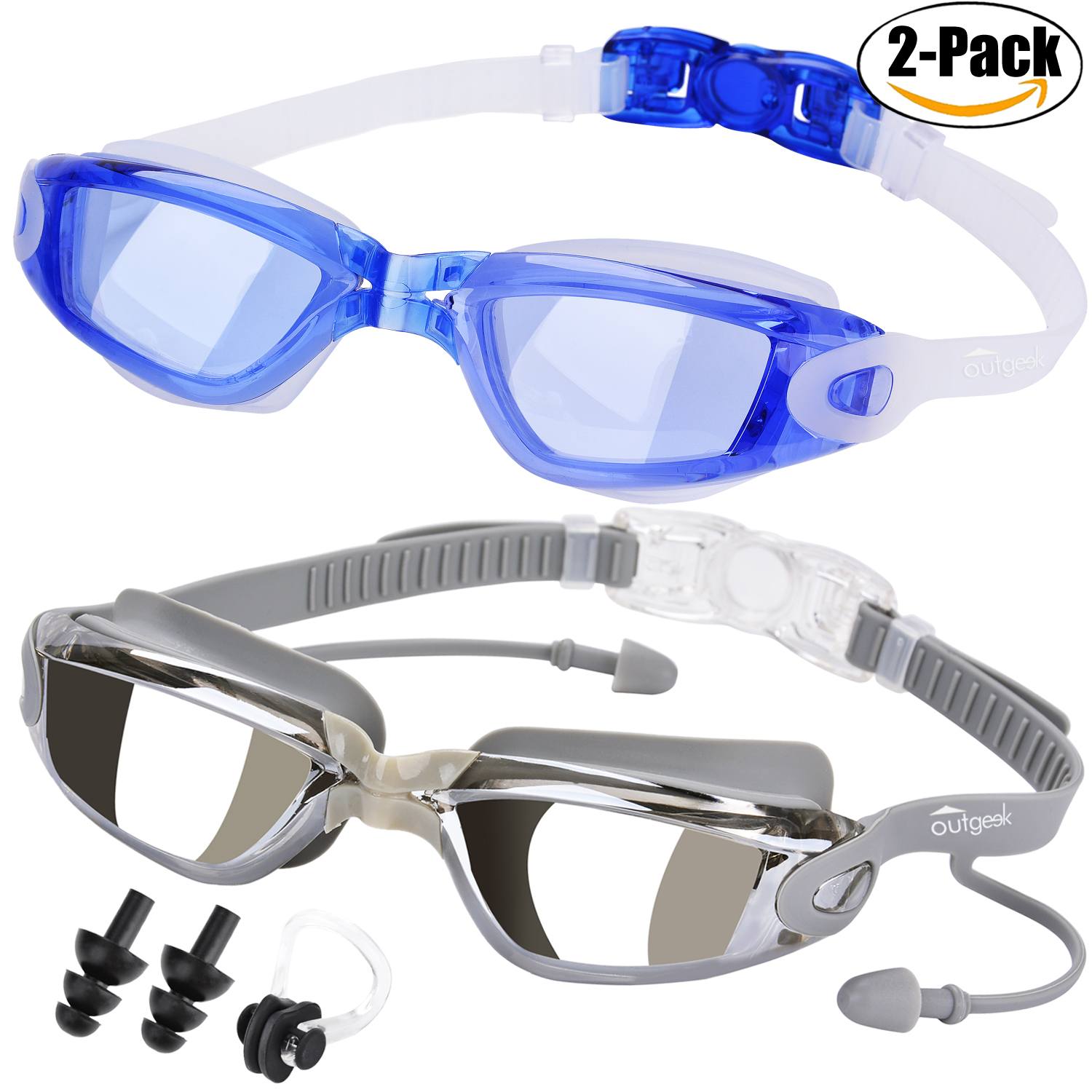 Swim Goggles, Outgeek 2-Pack of Swim Glasses with Anti-Fog UV Protection for Adult Men Women Youth Kids Child by Outgeek