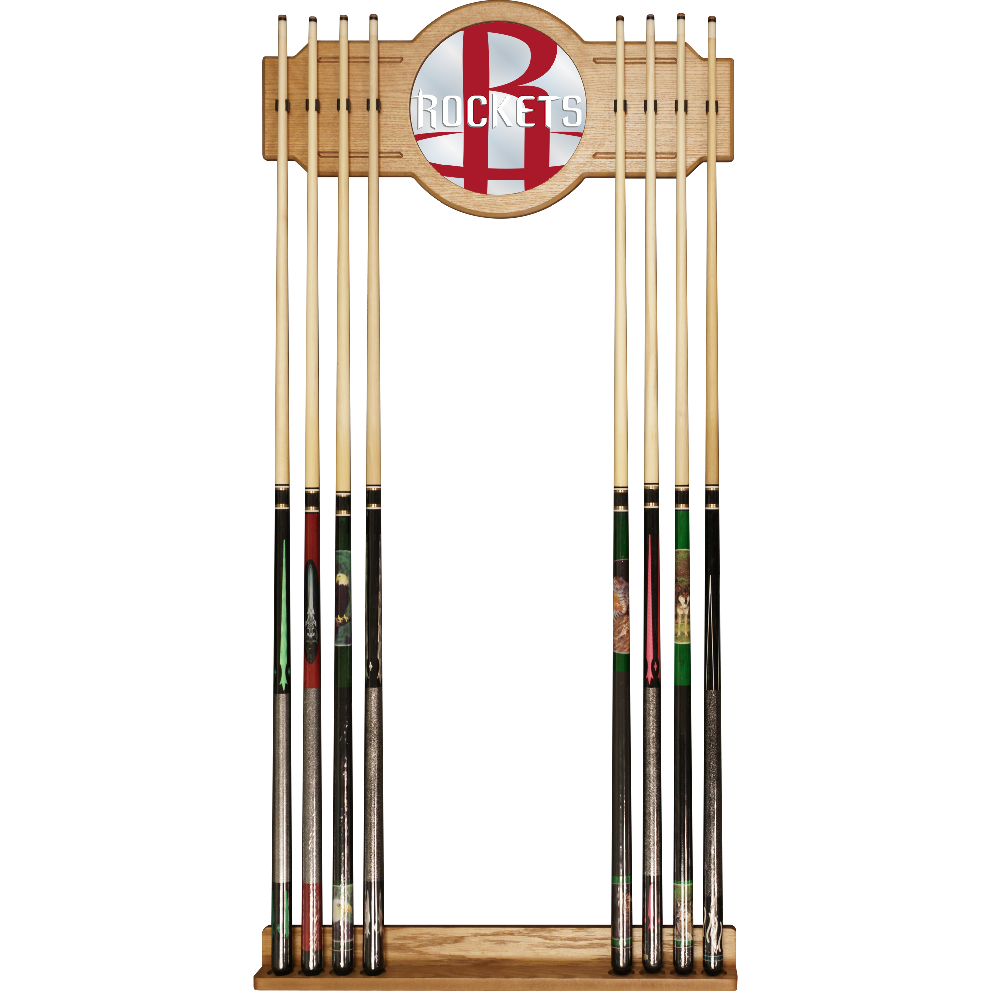 NBA Cue Rack with Mirror - Fade - Houston Rockets