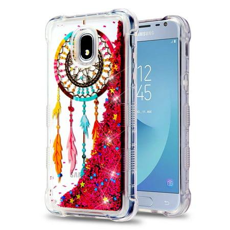 Kaleidio Case For Samsung Galaxy J3 Achieve, Express Prime 3, Amp Prime 3 [TUFF Lite] TPU Gel [Quicksand Glitter] Skin Cover w/ Prying Tool [Liquid Dreamcatcher & Pink Flowing Stars]