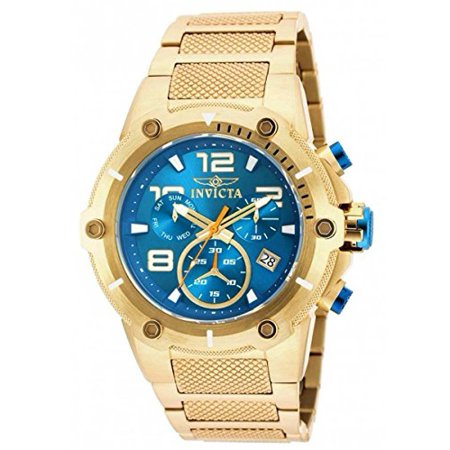 Gold Chronograph Swiss - NEW!! 19532 Speedway XL Teal Blue Gold Plated Chronograph Swiss Watch