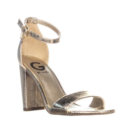 Womens G Guess Shantel3 Ankle Strap Block Heel Sandals, Gold Synthetic