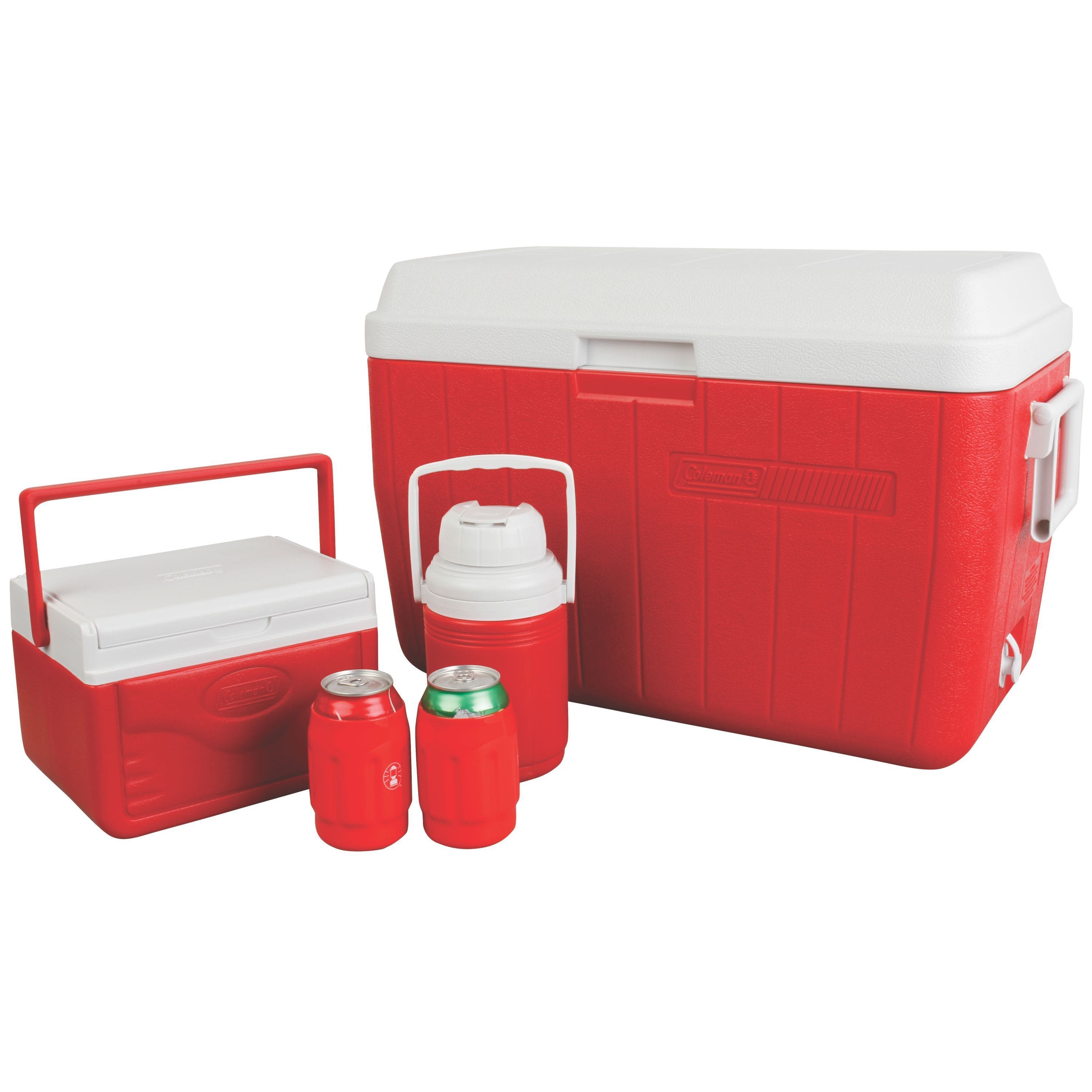 Coleman Red Cooler Combo, with 54-Quart Cooler, 5-Quart Cooler, and 1/3-Gallon Jug