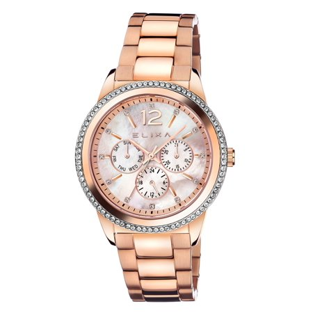 E107-L432 Women's Watch Enjoy Rose Gold-Tone Stainless Steel With Crystals  Day/Date