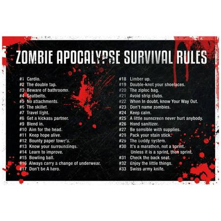 Zombie Apocalypse Survival Rules Poster - 19x13](Zombie Apocalypse Decorations)
