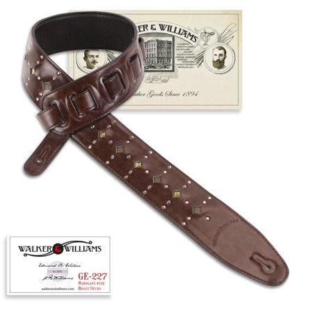 - Walker & Williams GE-227 Mahogany Padded Strap Inset Brass Studs & Silver Rivets