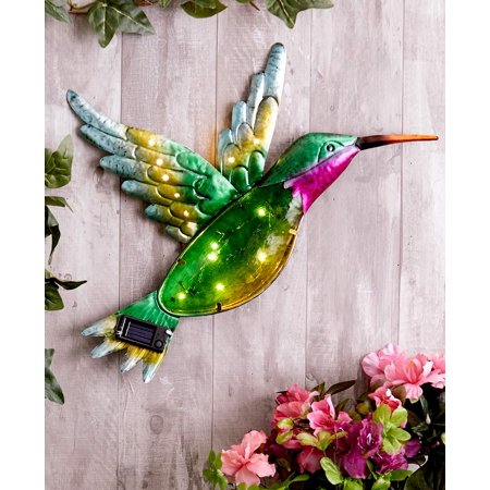 Hummingbird Metal - Solar Glass and Metal Hummingbird Wall Hanging -