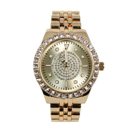 Men's Gold Luxury Line Watch with Studded Bezel